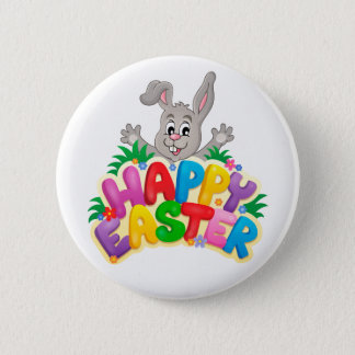 Happy Easter Bunny and text 6 Cm Round Badge