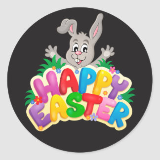 Happy Easter Bunny and text Classic Round Sticker