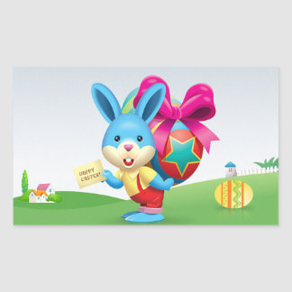 Happy Easter Bunny and text Rectangular Sticker