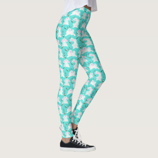 Happy Easter Bunny Bee Egg Hunt Blue Leggings