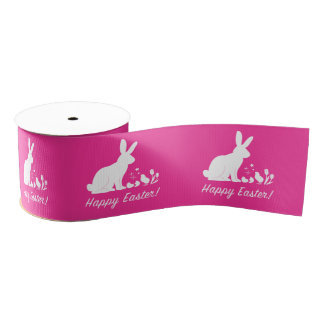 "Happy Easter Bunny, Chick and Tulips 3"" Grosgrain Ribbon"