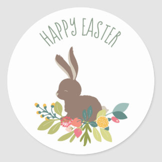 Happy Easter Bunny Classic Round Sticker