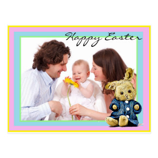 Happy Easter Bunny Custom Family Photo Postcard