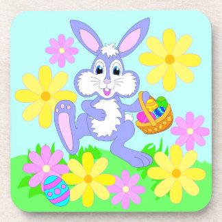 Happy Easter Bunny Cute Cartoon Rabbit Flowers Coaster