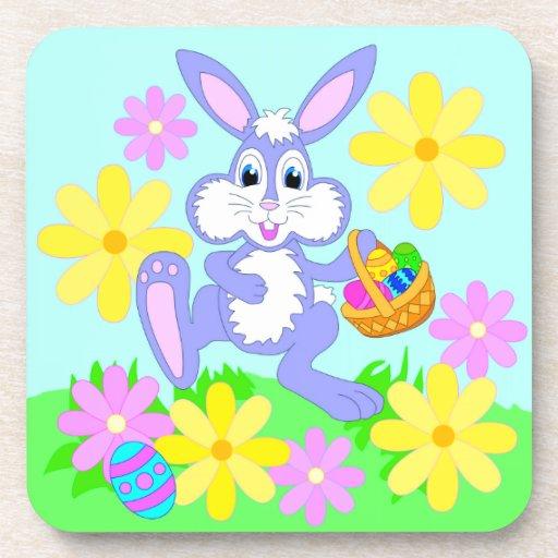 Happy Easter Bunny Cute Cartoon Rabbit Flowers Beverage Coaster