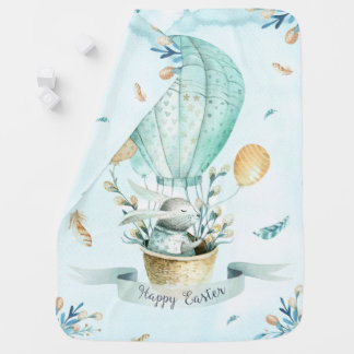 Happy Easter Bunny & Easter Basket Baby Blanket