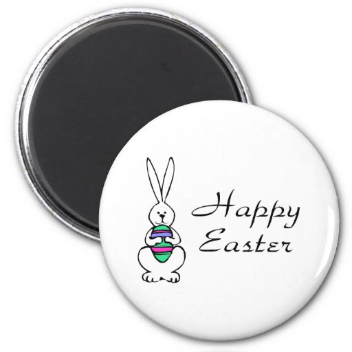 Happy Easter Bunny Egg 6 Cm Round Magnet