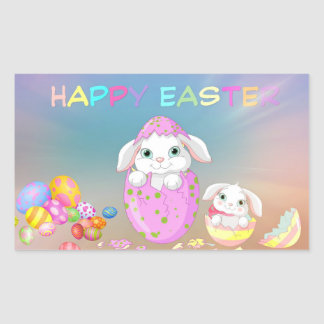 HAPPY EASTER Bunny Eggs Colors Favor Gift Rectangular Sticker