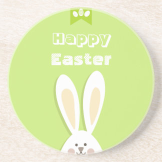 Happy Easter Bunny Greeting Drink Coaster