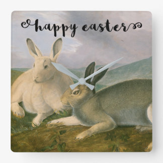 Happy Easter Bunny Hare Couple Watercolor Vintage Clocks