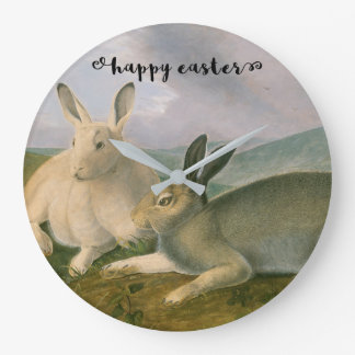 Happy Easter Bunny Hare Couple Watercolor Vintage Wallclocks