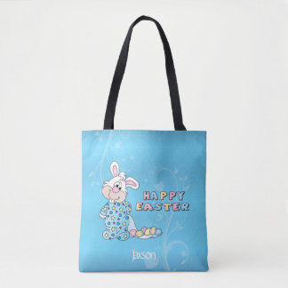 Happy Easter Bunny in Baby Blue Tote Bag