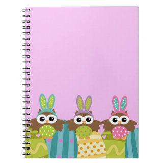 Happy Easter Bunny Owls Notebook