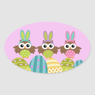 Happy Easter Bunny Owls Oval Sticker