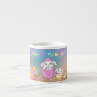 Happy Easter Bunny Painted Eggs Cute Bunnies Espresso Cup