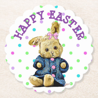 Happy Easter Bunny Polka Dot Paper Coasters