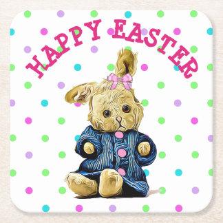 Happy Easter Bunny Polka Dot Paper Coasters