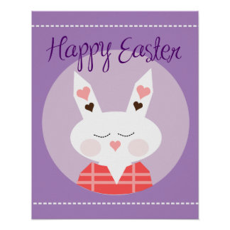 Happy Easter Bunny Purple Poster