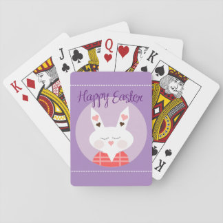 Happy Easter Bunny Purple Standard Playing Cards