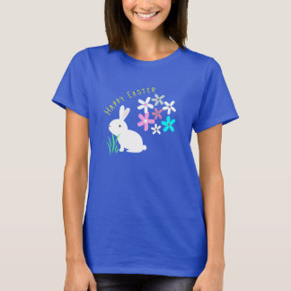 Happy Easter Bunny Rabbit and Flowers T-Shirt
