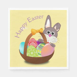 Happy Easter Bunny Rabbit Basket Egg Dinner Napkin Disposable Serviettes