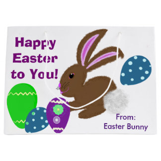 Happy Easter Bunny Rabbit Decorated Eggs Large Gift Bag