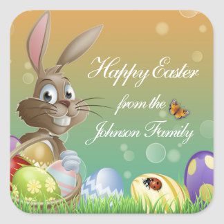 Happy Easter Bunny Rabbit with Basket Square Sticker