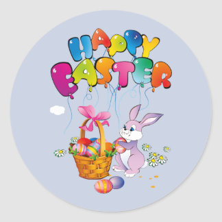 Happy Easter Bunny with basket Classic Round Sticker