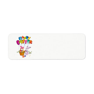 Happy Easter Bunny with basket of colored eggs Return Address Label