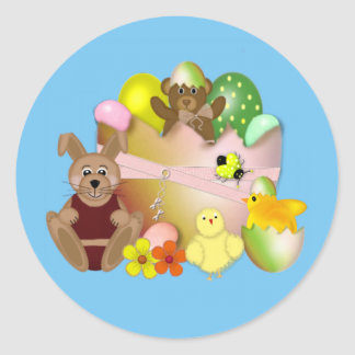 Happy Easter bunny with chickens Classic Round Sticker