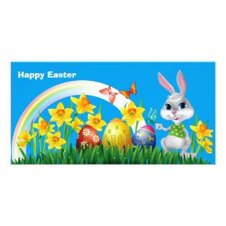 Happy Easter Bunny with colored eggs Photo Card Template