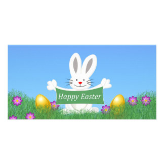 Happy Easter Bunny with colorful eggs Customised Photo Card