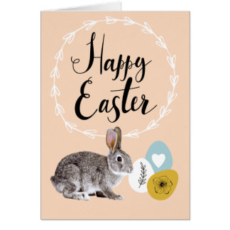 Happy Easter. Bunny with Easter Eggs Greeting Card