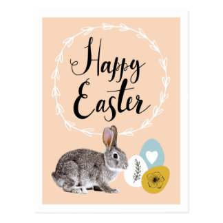 Happy Easter. Bunny with Easter Eggs Postcards