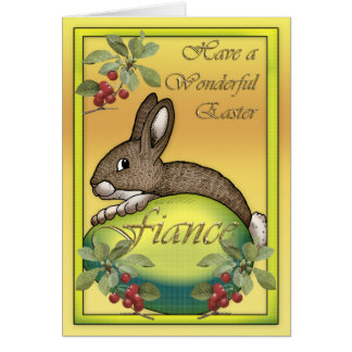 Happy Easter bunny with egg, for Fiance Greeting Card