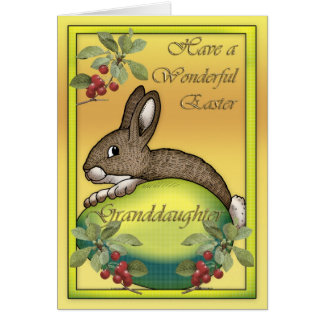 Happy Easter bunny with egg, for Granddaughter Card