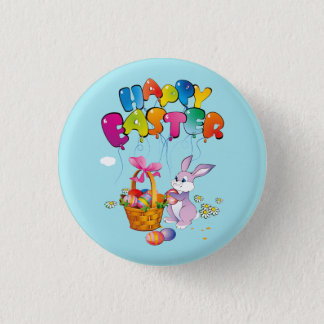 Happy Easter Bunny with text 3 Cm Round Badge