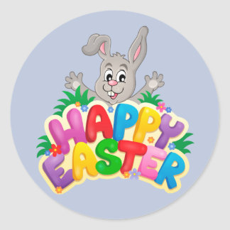 Happy Easter Bunny with text Classic Round Sticker
