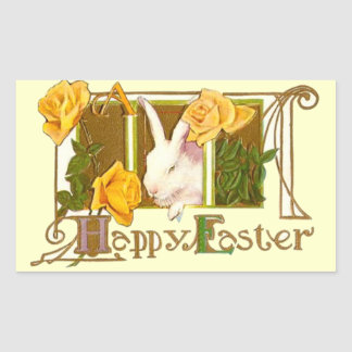 Happy Easter Bunny with Yellow Roses Rectangular Sticker