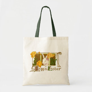 Happy Easter Bunny with Yellow Roses Tote Bag