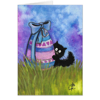 Happy Easter by BiHrLe Black Cat Card