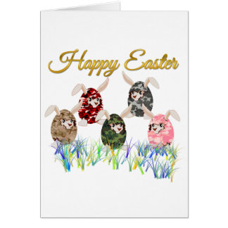 Happy Easter Camouflage Chocolate Bunny Egg Hunt Greeting Card