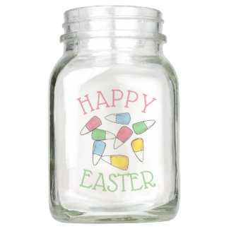 Happy Easter Candy Corn Jellybean Eggs Centerpiece Mason Jar