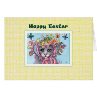 Happy Easter card, cat in an Easter bonnet Card