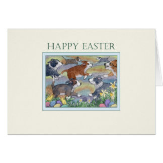 Happy Easter card, dogs hunting for Easter eggs Card