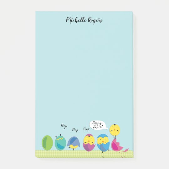 Happy Easter Chick Add Name 4x6 Post-it Notes