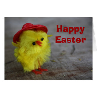 Happy Easter Chick in Hat Card