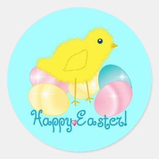 Happy Easter Chick Round Sticker