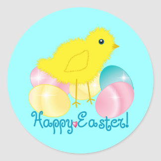 Happy Easter Chick Round Sticker