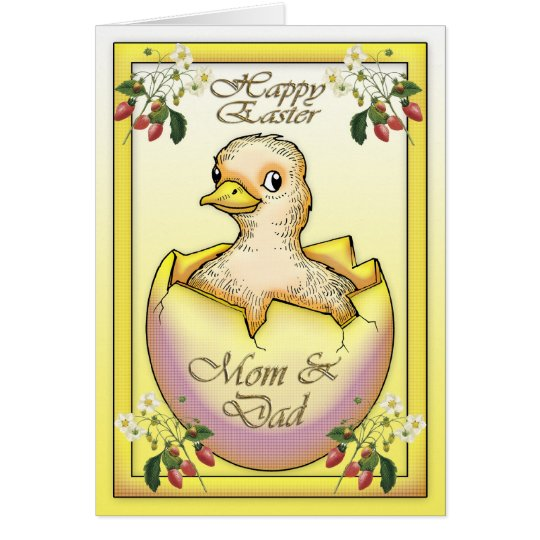 Happy Easter chick with egg, for Mum and